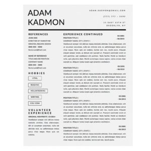 Adam Kadmon Downloadable Resume + Cover Template and Cover Letter Template for Microsoft Word and Apple Pages. This cover letter template is perfect for anyone in the fashion field. The template's design is a modern, unique, colorful, and professional. WE SWEAT THE DETAILS, SO YOU DON'T HAVE TO Stand Out Shop resume templates for Microsoft Word and Apple Pages will help you design a modern and professional resume in minutes! Simply download, open in Microsoft Word or Apple Pages, and input your resume's information. Increase your chances of landing your dream job with a job winning, modern, simple, and scannable resume template for Microsoft Word and Apple Pages. Creating a resume shouldn't suck Simply download a resume template from Stand Out Shop, enter your information in Microsoft Word or Apple Pages and get a beautifully formatted resume in seconds. Create a unique and vivid resume in minutes. Make an impressive resume. Customize your own layout in Microsoft Word or Apple Pages and introduce yourself in an impressive way. You can download your resume at any time. Stand out from other job seekers with a beautiful professional design.