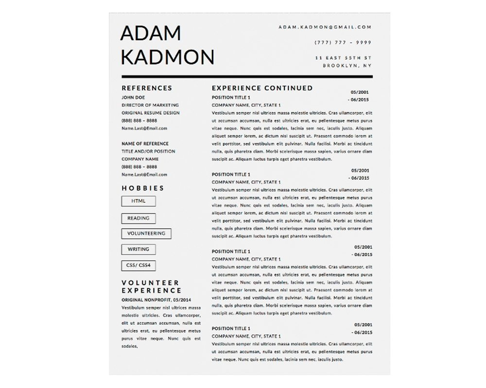 adam kadmon resume template