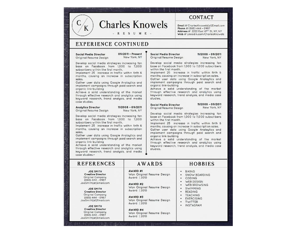 charles knowels resume 5 pack for ms word and apple pages