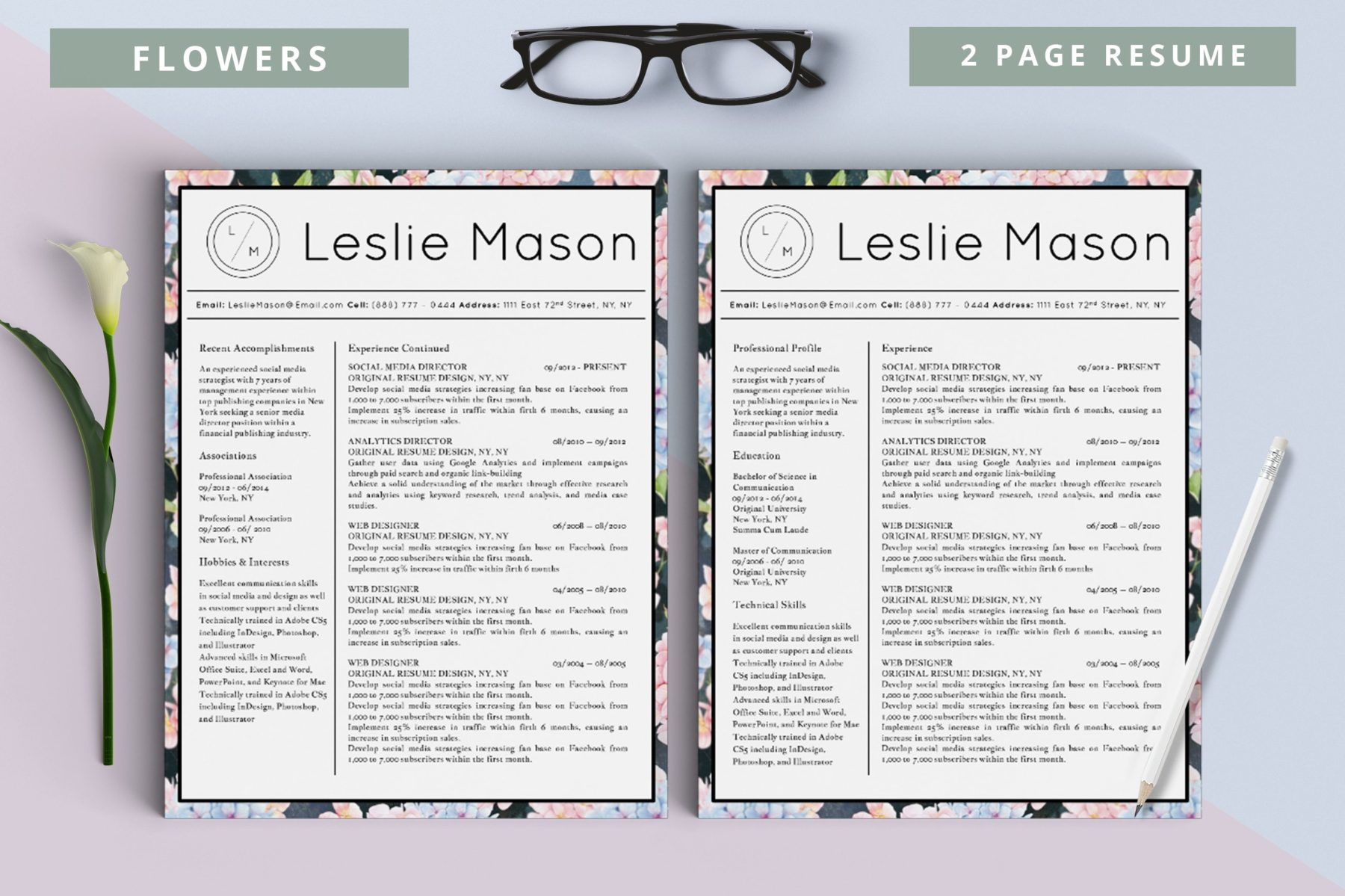 Leslie Mason Flowers 2 Page Cover New