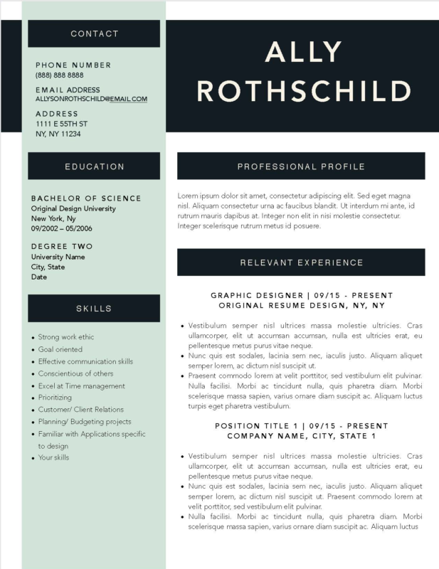 Ally Rothschild - Downloadable Resume Template and Cover Letter Template for Microsoft Word and Apple Pages