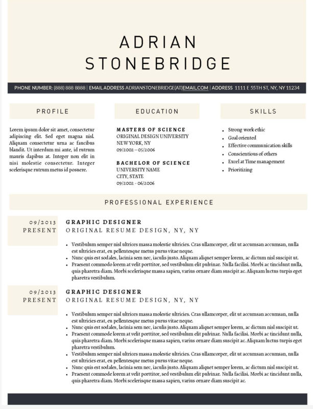 Adrian Stonebridge - Downloadable Resume Template for Microsoft Word and Apple Pages