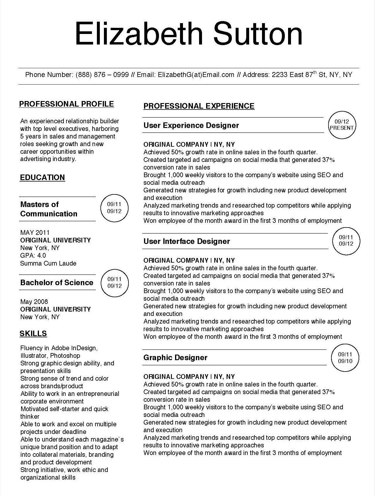 Elizabeth Sutton - Downloadable Resume Template for Microsoft Word and Apple Pages