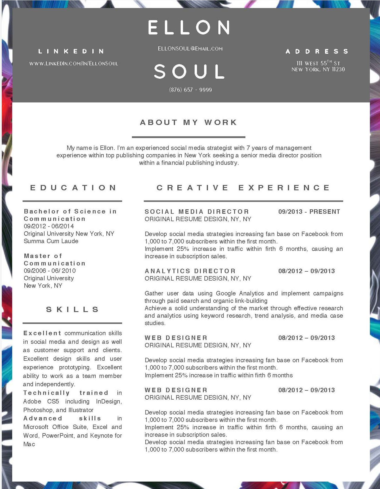 Ellon Soul - Downloadable Resume Template and Cover Letter Template for Microsoft Word and Apple Pages