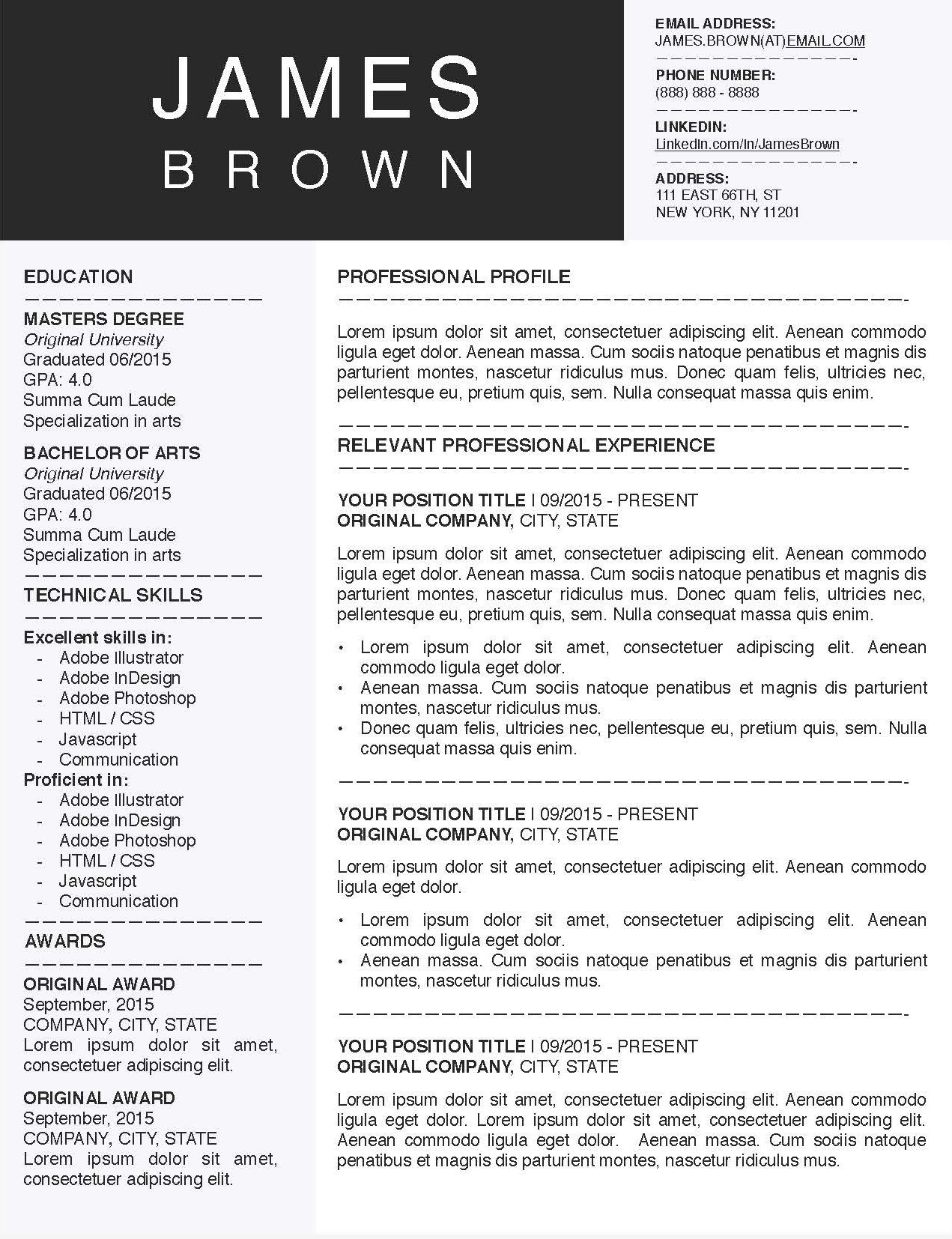James Brown - Downloadable Resume Template for Microsoft Word and Apple Pages