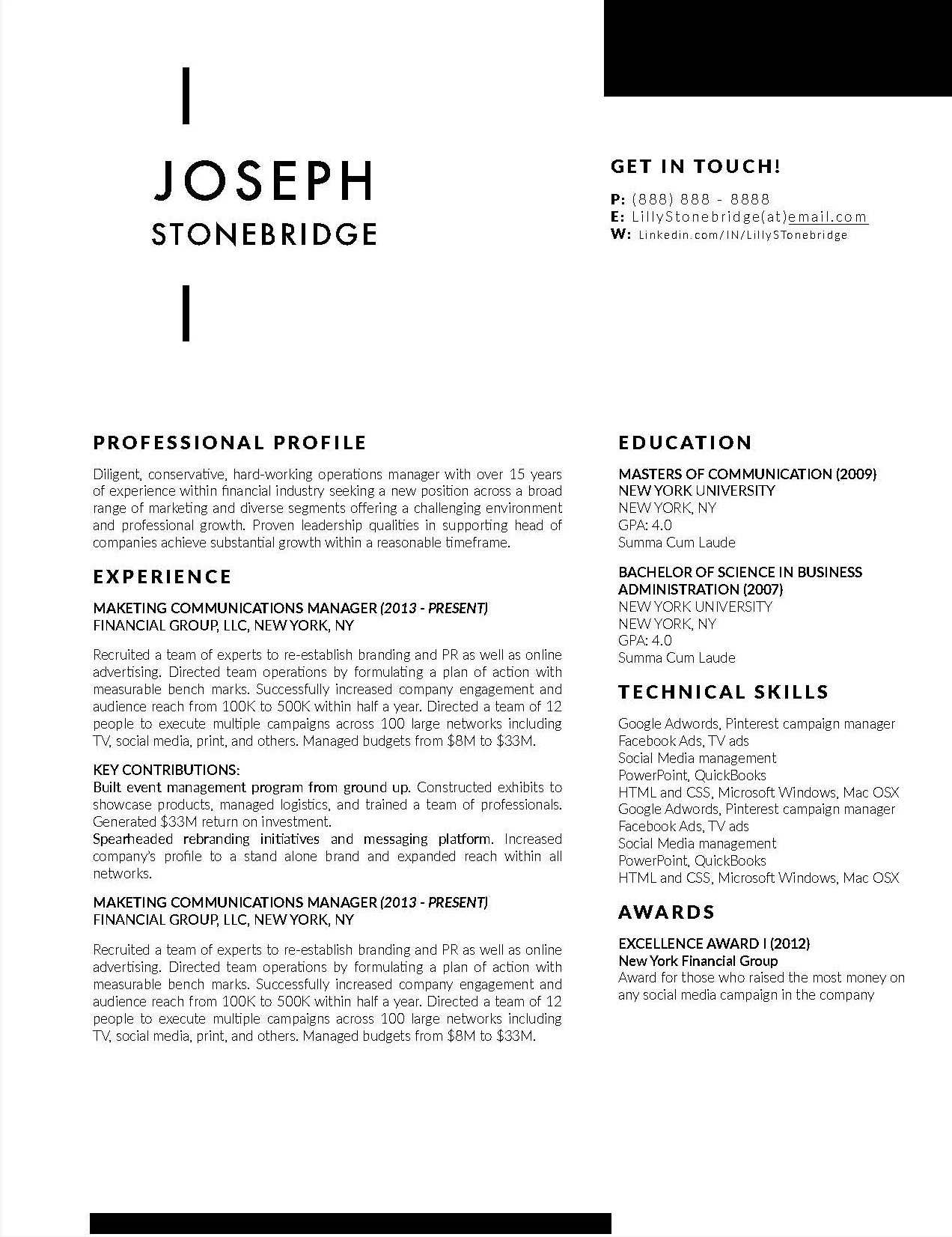 Joseph Stonebridge - Downloadable Resume + Cover Template and Cover Letter Template for Microsoft Word and Apple Pages. This cover letter template is perfect for anyone in the fashion field. The template's design is a modern, unique, colorful, and professional. WE SWEAT THE DETAILS, SO YOU DON'T HAVE TO Stand Out Shop resume templates for Microsoft Word and Apple Pages will help you design a modern and professional resume in minutes! Simply download, open in Microsoft Word or Apple Pages, and input your resume's information. Increase your chances of landing your dream job with a job winning, modern, simple, and scannable resume template for Microsoft Word and Apple Pages. Creating a resume shouldn't suck Simply download a resume template from Stand Out Shop, enter your information in Microsoft Word or Apple Pages and get a beautifully formatted resume in seconds. Create a unique and vivid resume in minutes. Make an impressive resume. Customize your own layout in Microsoft Word or Apple Pages and introduce yourself in an impressive way. You can download your resume at any time. Stand out from other job seekers with a beautiful professional design.