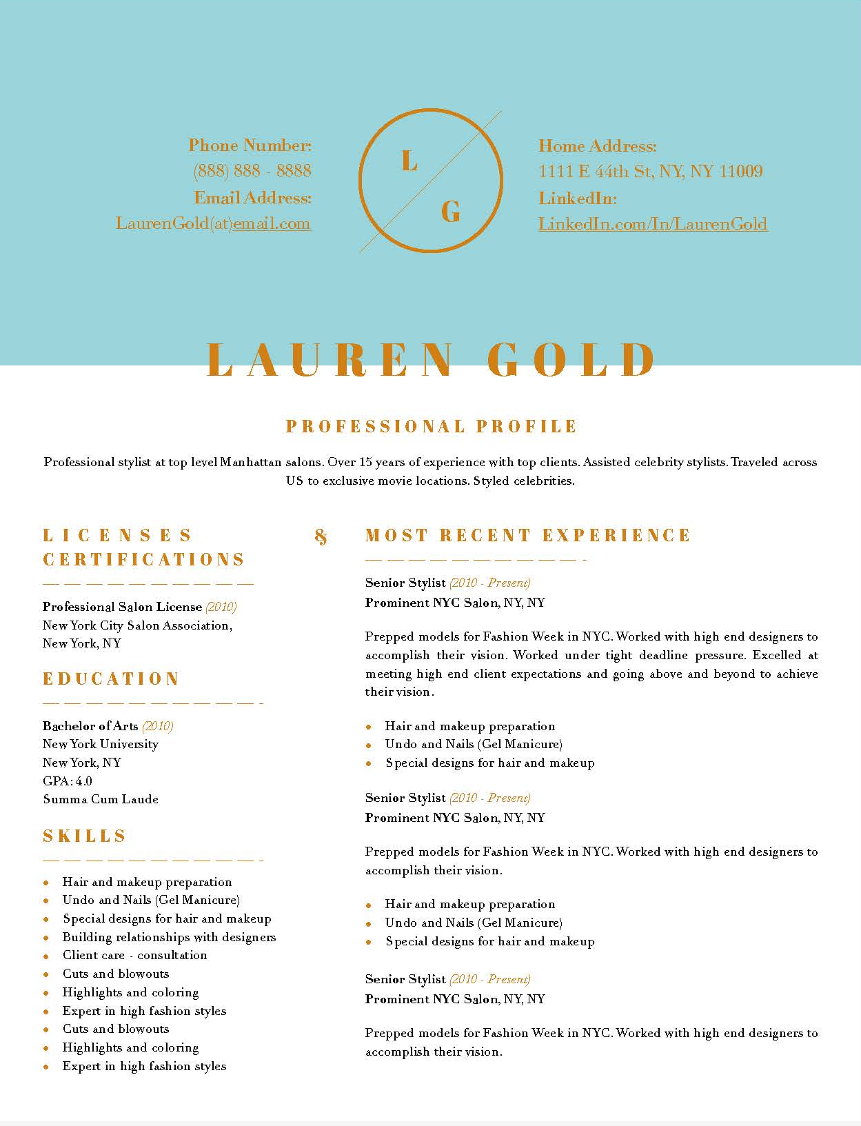 Lauren Gold Fashion Downloadable Resume Template And Cover Letter Template  For Microsoft Word And Apple Pages  1 Page Resume