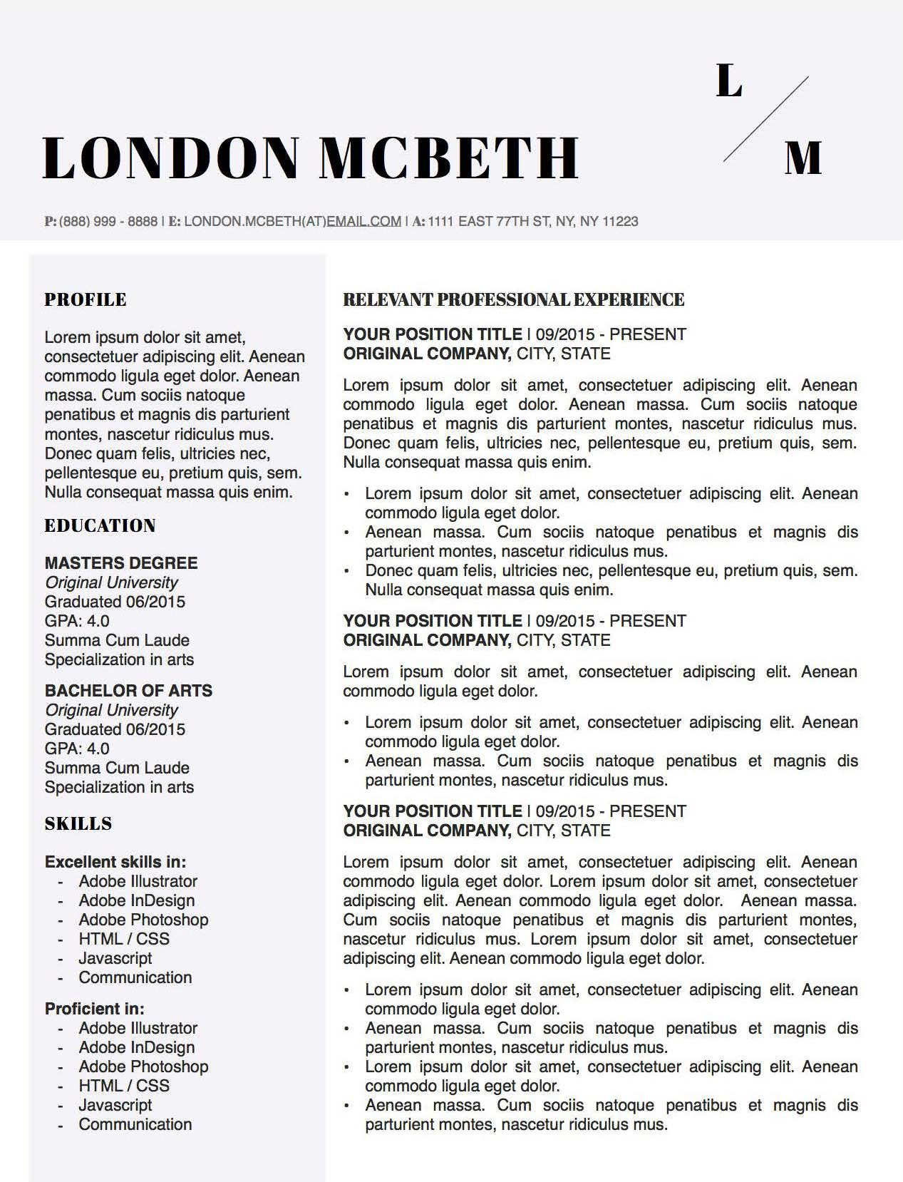 London McBeth - Downloadable Resume Template for Microsoft Word and Apple Pages