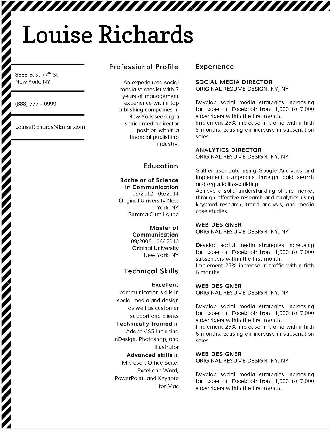 Louise Richards - Downloadable Resume Template and Cover Letter Template for Microsoft Word and Apple Pages