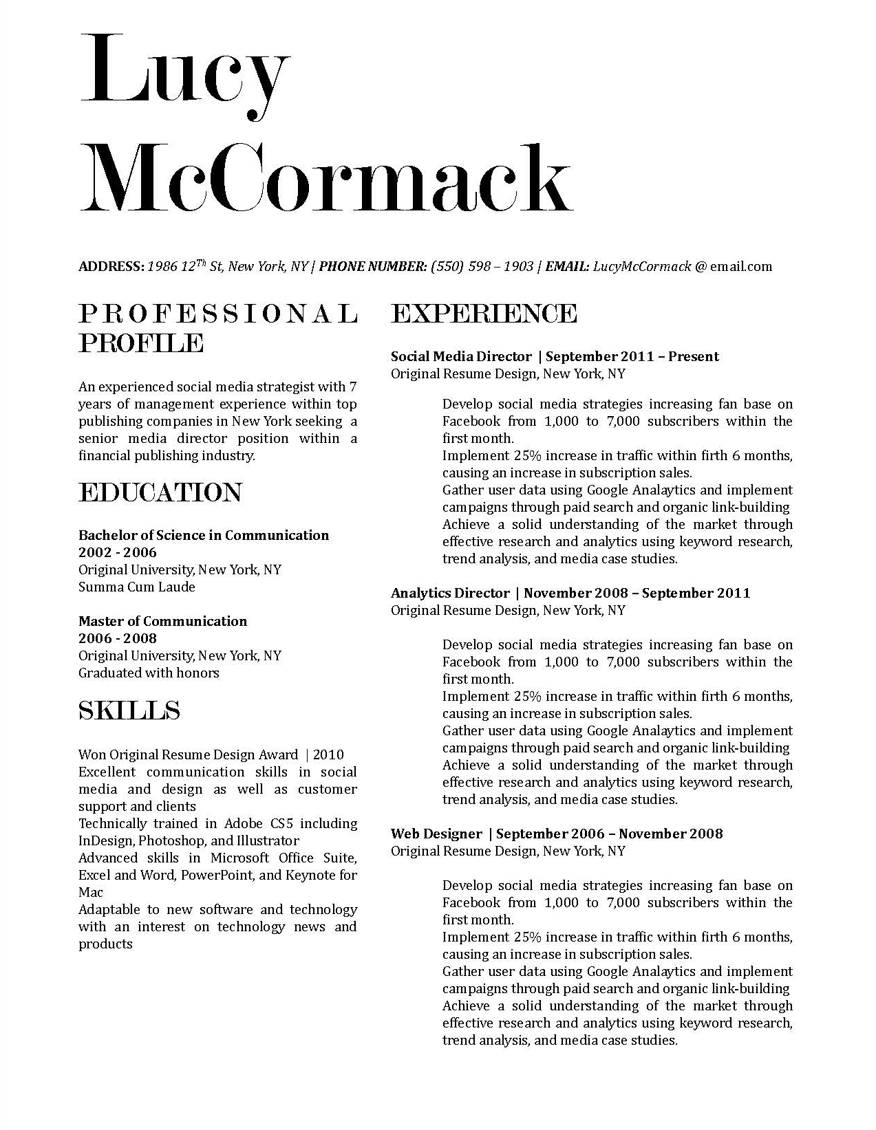 Lucy McCormack - Downloadable Resume Template for Microsoft Word and Apple Pages