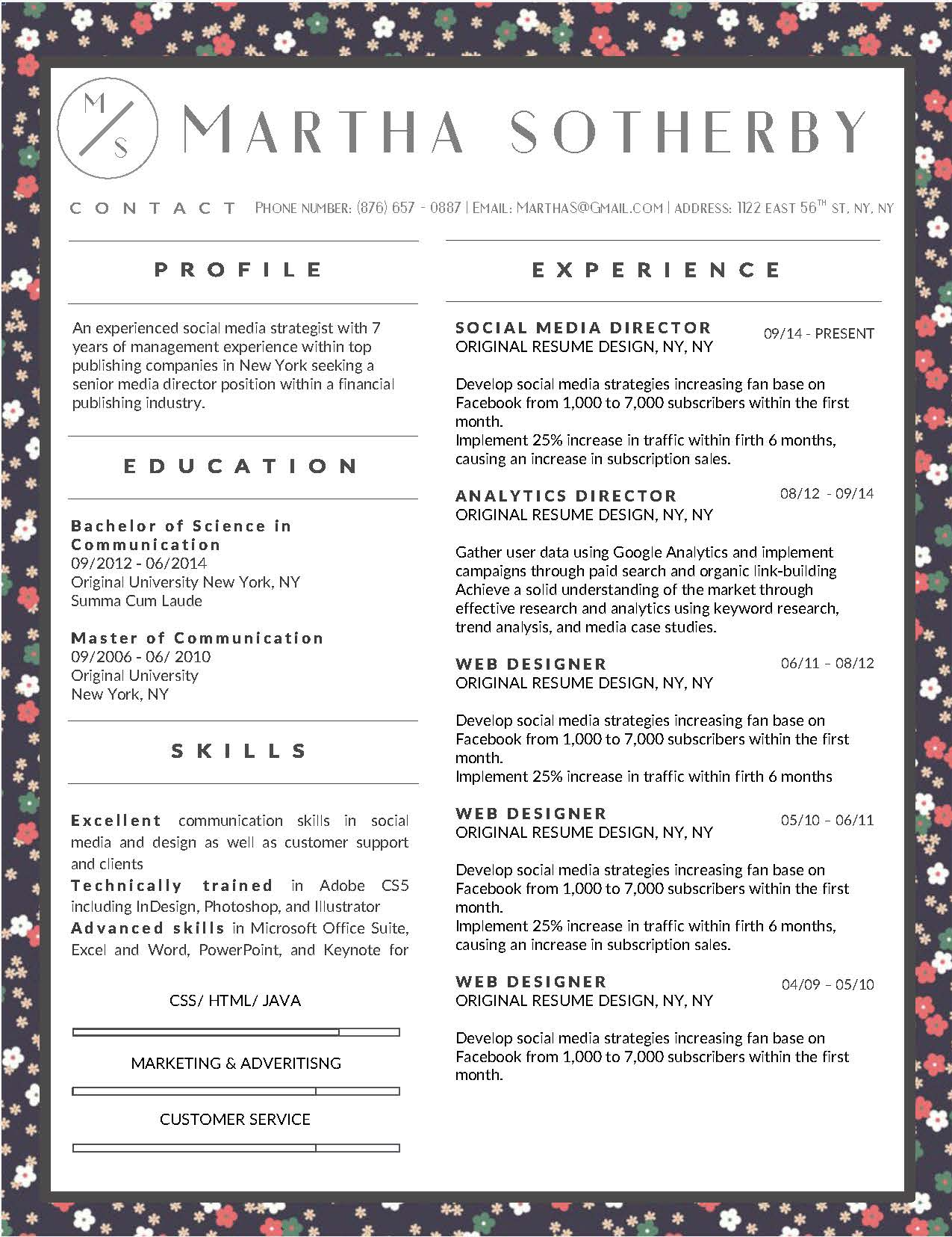Martha Sotherby - Downloadable Resume Template and Cover Letter Template for Microsoft Word and Apple Pages