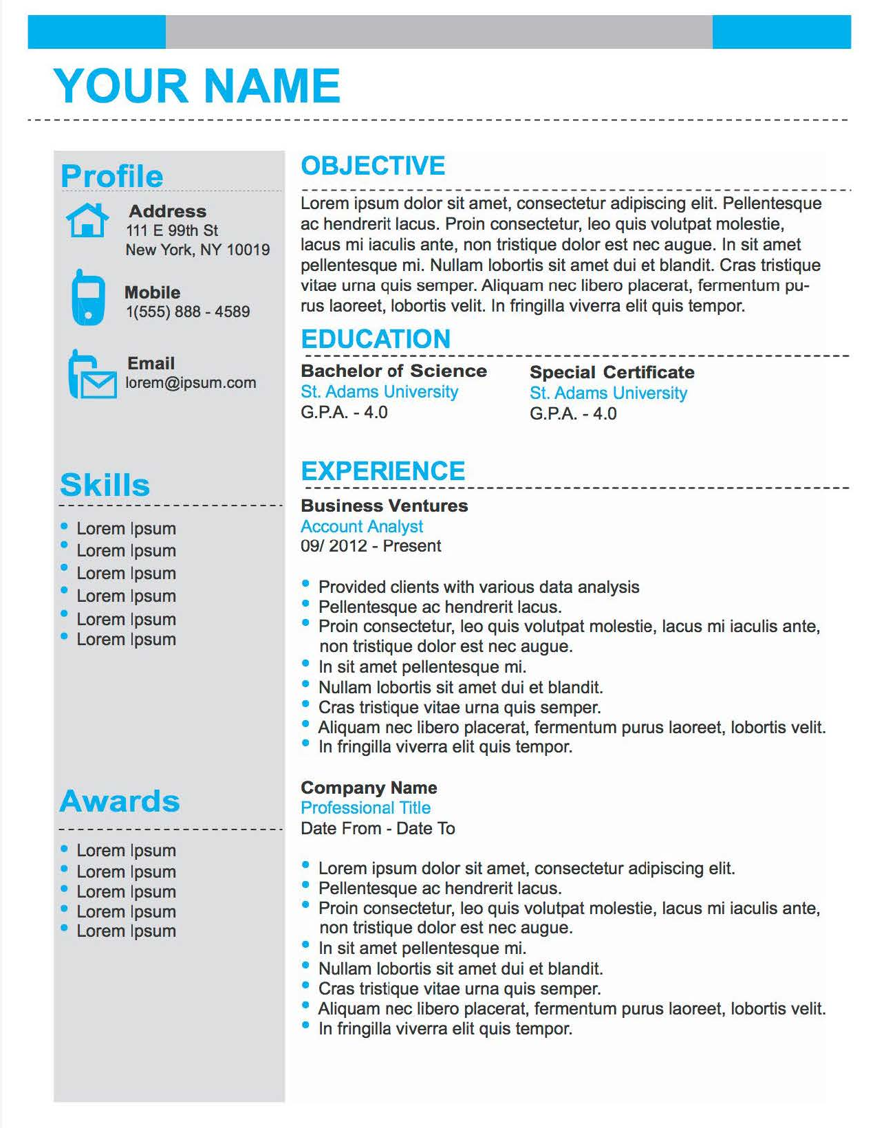Number One - Downloadable Resume Template and Cover Letter Template for Microsoft Word and Apple Pages