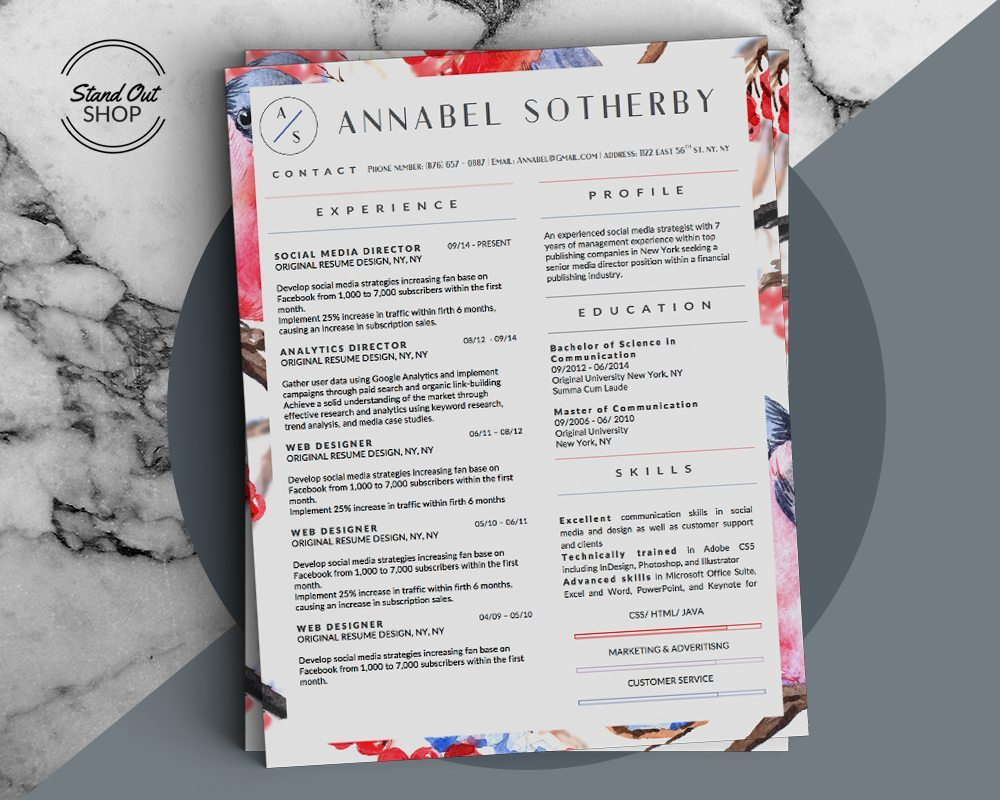 Annabel Sotherby Beautiful Resume Template  Stand Out Shop