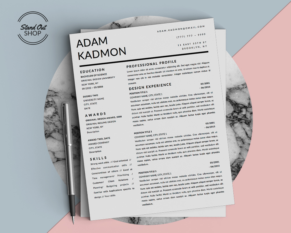 Adam Kadmon Resume Template - Stand Out Shop