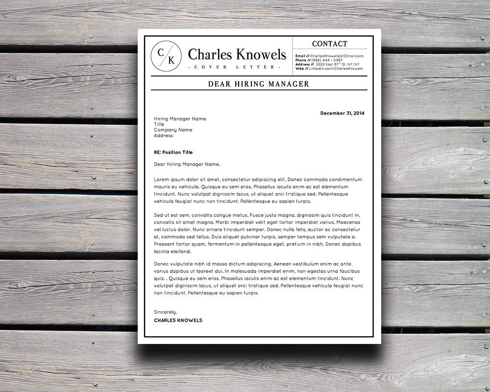 Charles Knowels Resume  Pack For Ms Word And Apple Pages  Stand