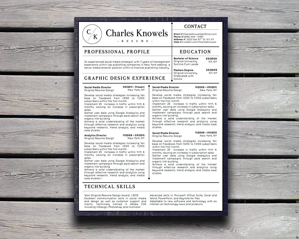Charles Knowels Resume 5 Pack for MS Word and Apple Pages - Stand ...