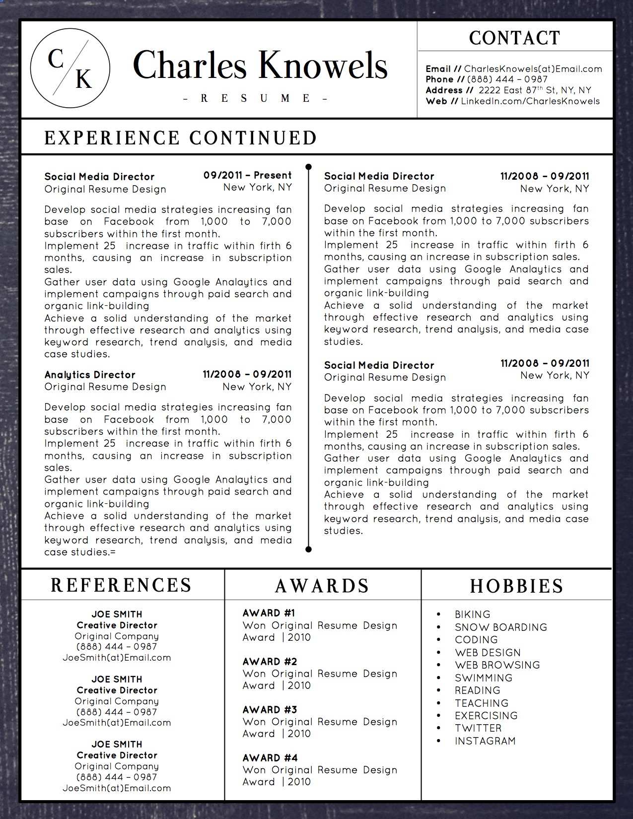 Charles Knowels Downloadable Resume + Cover Template and Cover Letter Template for Microsoft Word and Apple Pages. This cover letter template is perfect for anyone in the fashion field. The template's design is a modern, unique, colorful, and professional. WE SWEAT THE DETAILS, SO YOU DON'T HAVE TO Stand Out Shop resume templates for Microsoft Word and Apple Pages will help you design a modern and professional resume in minutes! Simply download, open in Microsoft Word or Apple Pages, and input your resume's information. Increase your chances of landing your dream job with a job winning, modern, simple, and scannable resume template for Microsoft Word and Apple Pages. Creating a resume shouldn't suck Simply download a resume template from Stand Out Shop, enter your information in Microsoft Word or Apple Pages and get a beautifully formatted resume in seconds. Create a unique and vivid resume in minutes. Make an impressive resume. Customize your own layout in Microsoft Word or Apple Pages and introduce yourself in an impressive way. You can download your resume at any time. Stand out from other job seekers with a beautiful professional design.