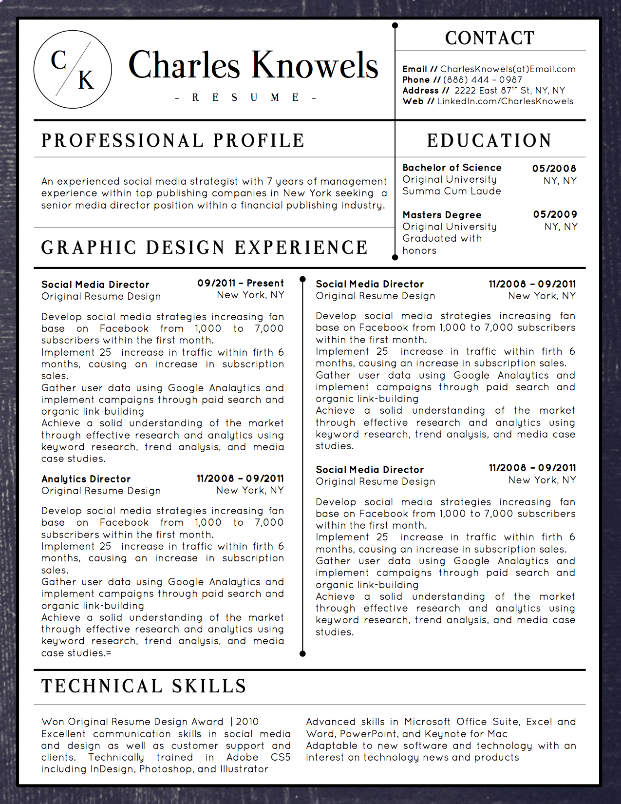 Charles Knowels Downloadable Resume + Cover Template And Cover Letter  Template For Microsoft Word And Apple