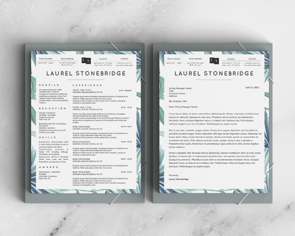 Laurel Stonebridge Resume Template Vol I  Stand Out Shop