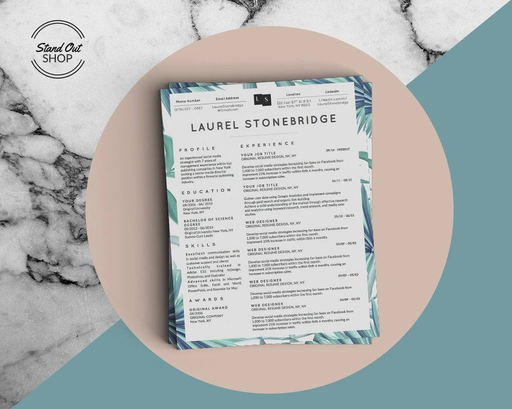 Laurel Stonebridge Resume Template Vol. I - Stand Out Shop