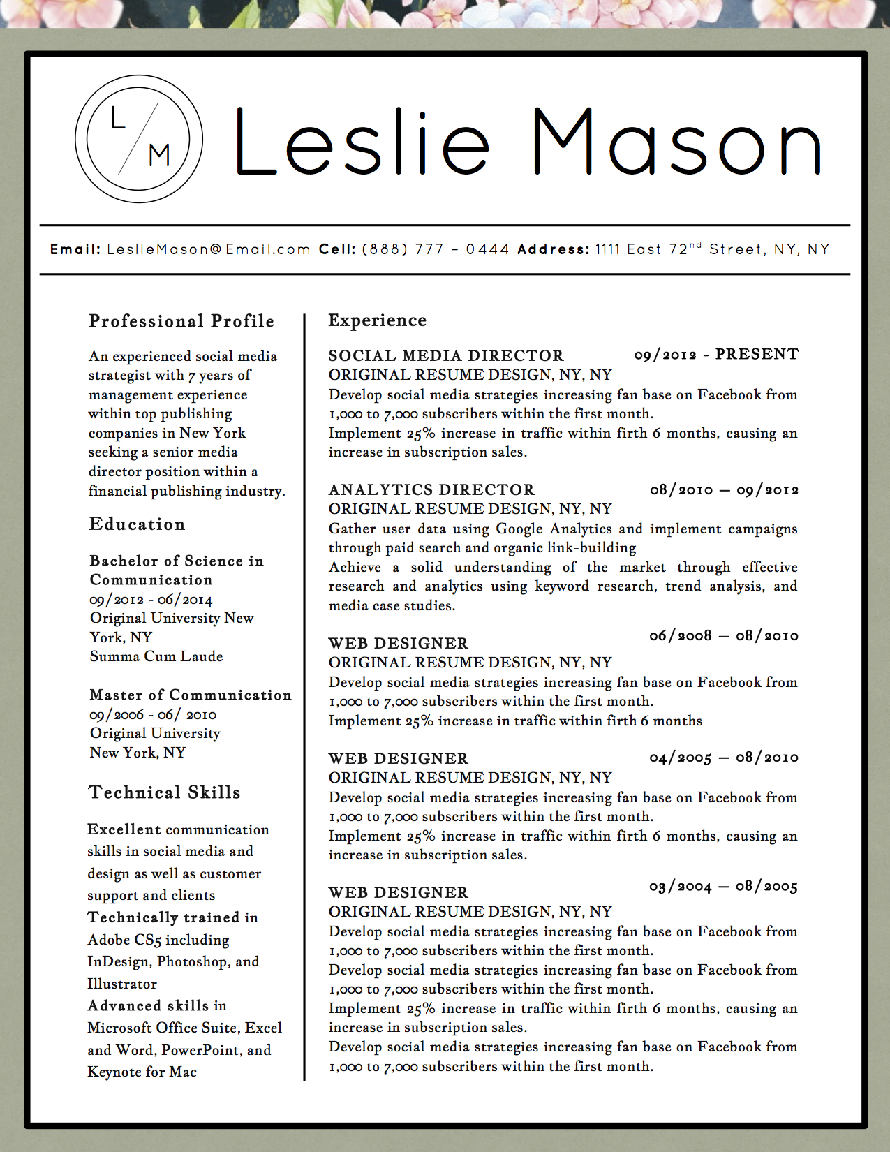 leslie mason beautiful resume 5 pack