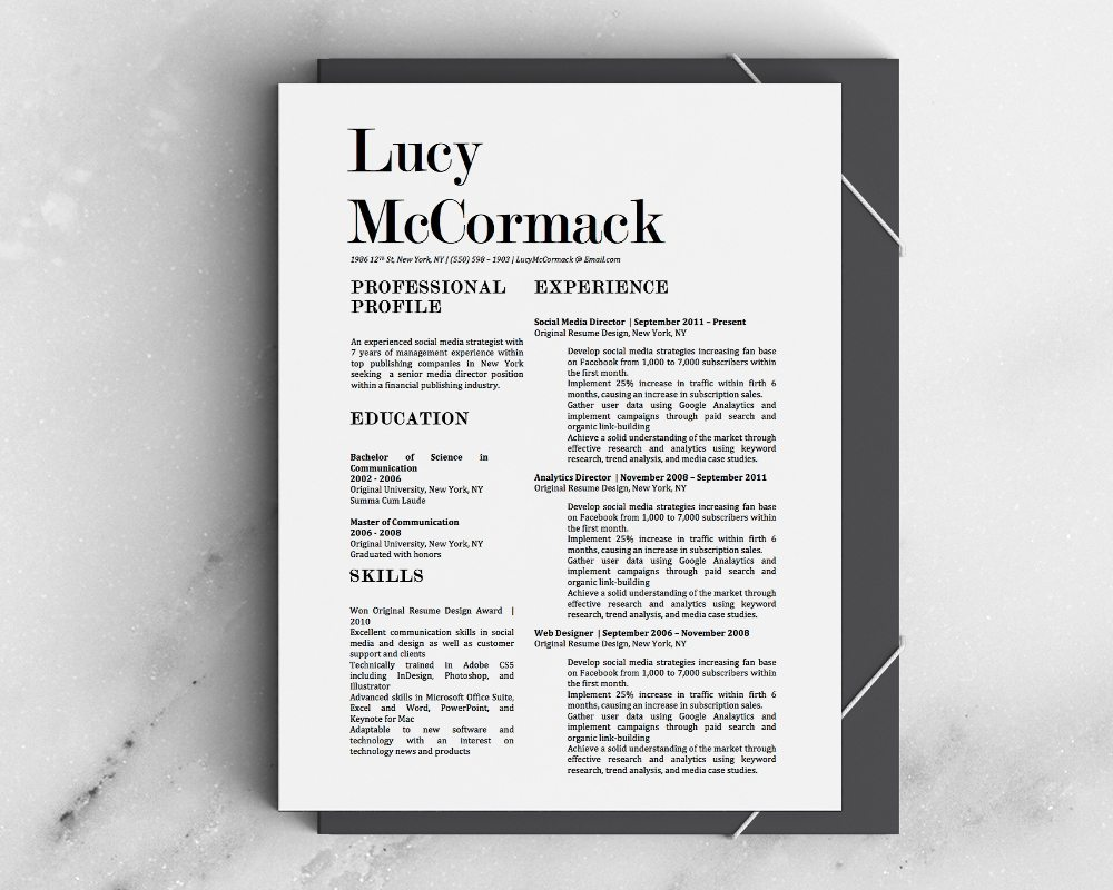 Lucy Mccormack Resume Template  Stand Out Shop