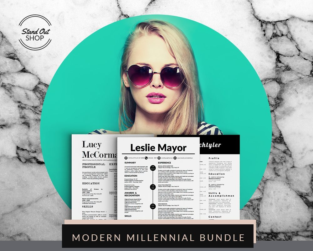 modern millennial resume bundle stand out shop