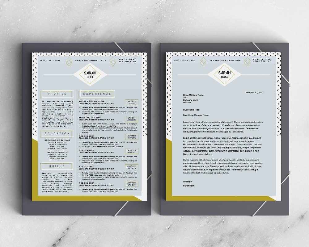 sarah rose resume template