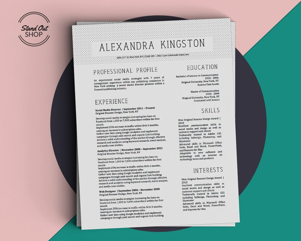 Alexandra Kingston Resume Template  Stand Out Shop