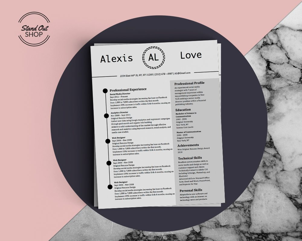 Alexis Love Resume Template - Stand Out Shop