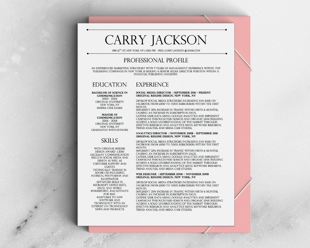 Carry Jackson Resume Template - Stand Out Shop