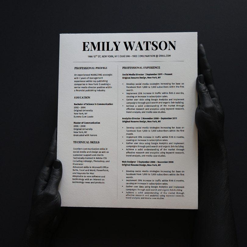 emily watson resume template