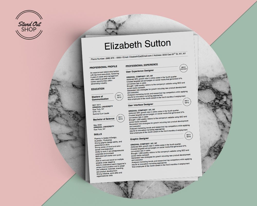 Elizabeth Sutton Resume Template  Stand Out Shop