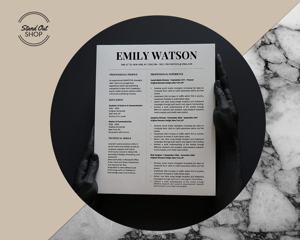 Emily Watson Resume Template  Stand Out Shop