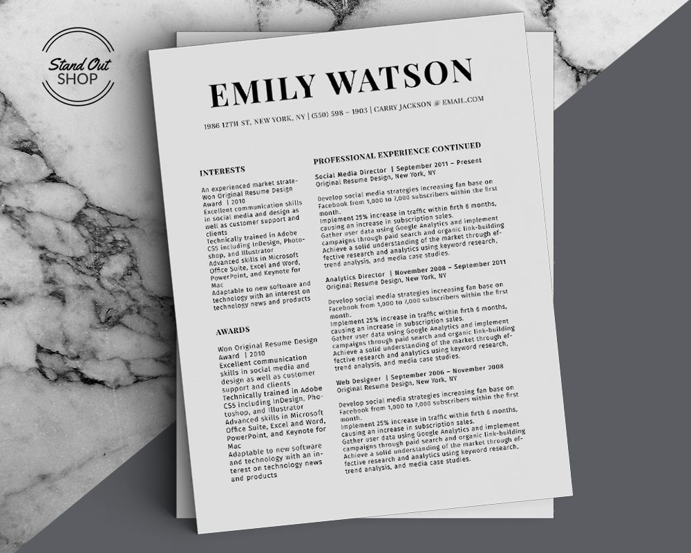 Emily Watson - Resume Template for Word - 5 Best Clean Resume Templates Word of 2019
