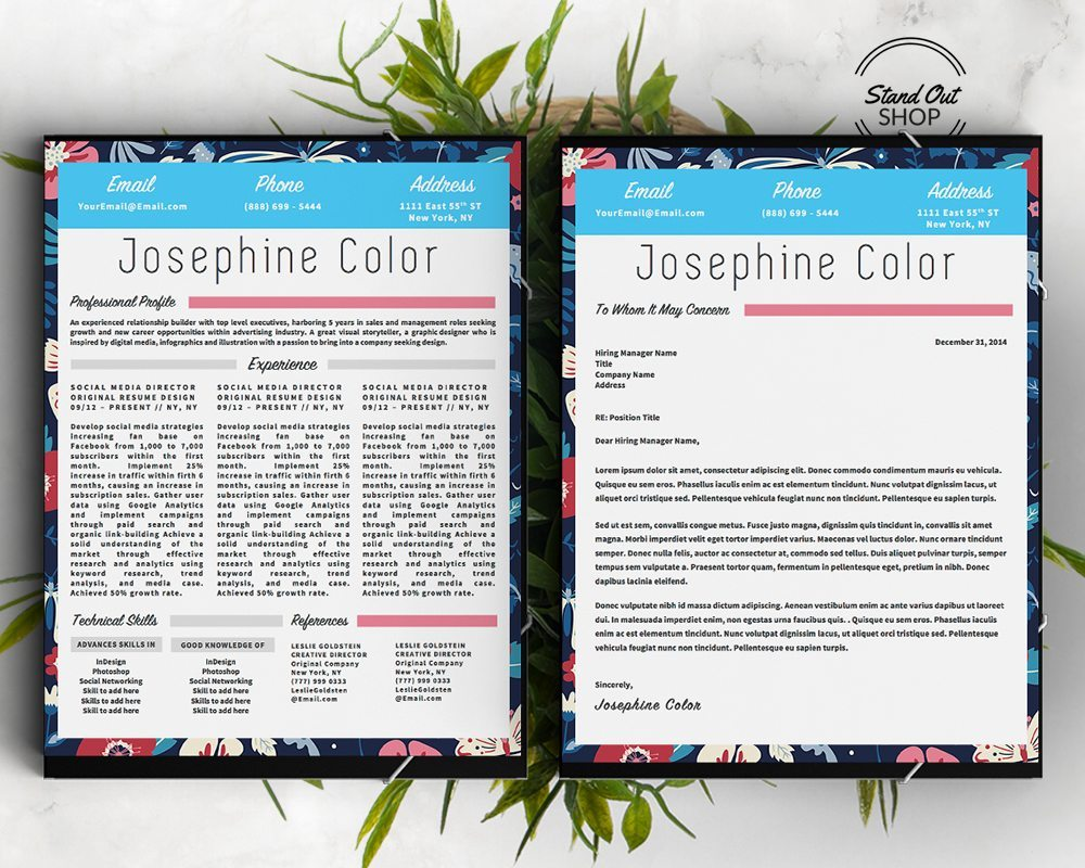 josephine color resume template stand out shop