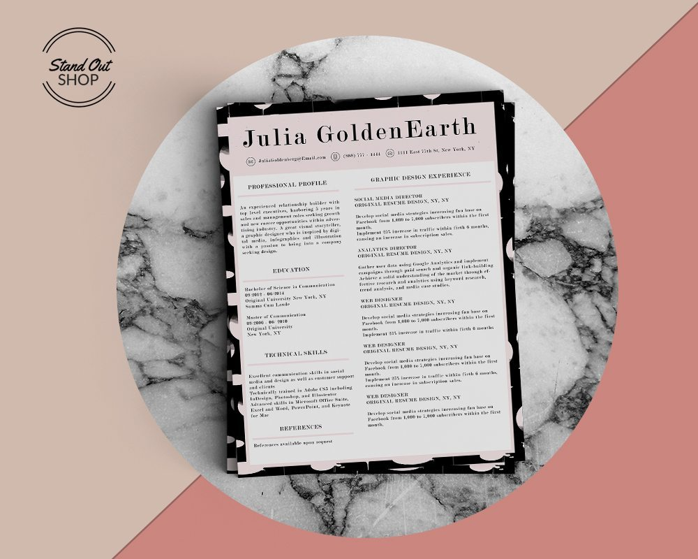 Julia Goldenearth Resume Template  Stand Out Shop