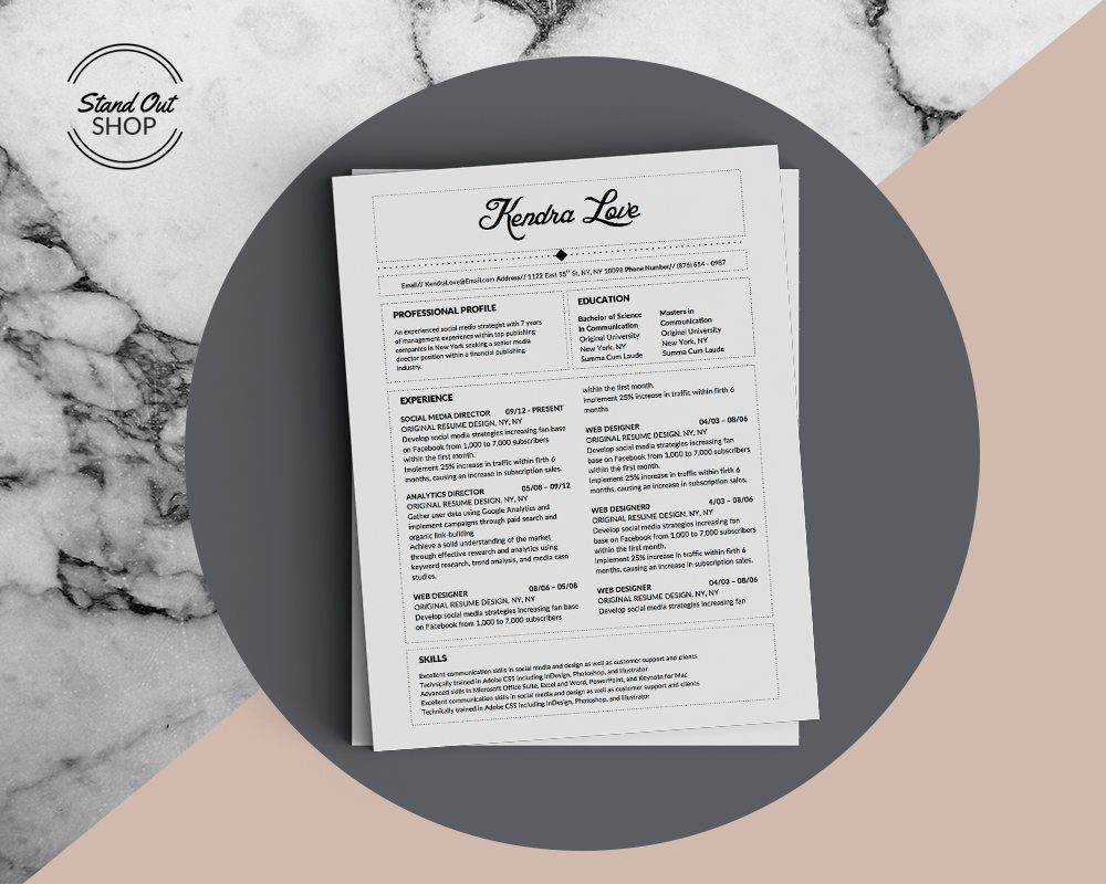 Kendra Love -5 FREE MICROSOFT WORD CV RESUME TEMPLATES