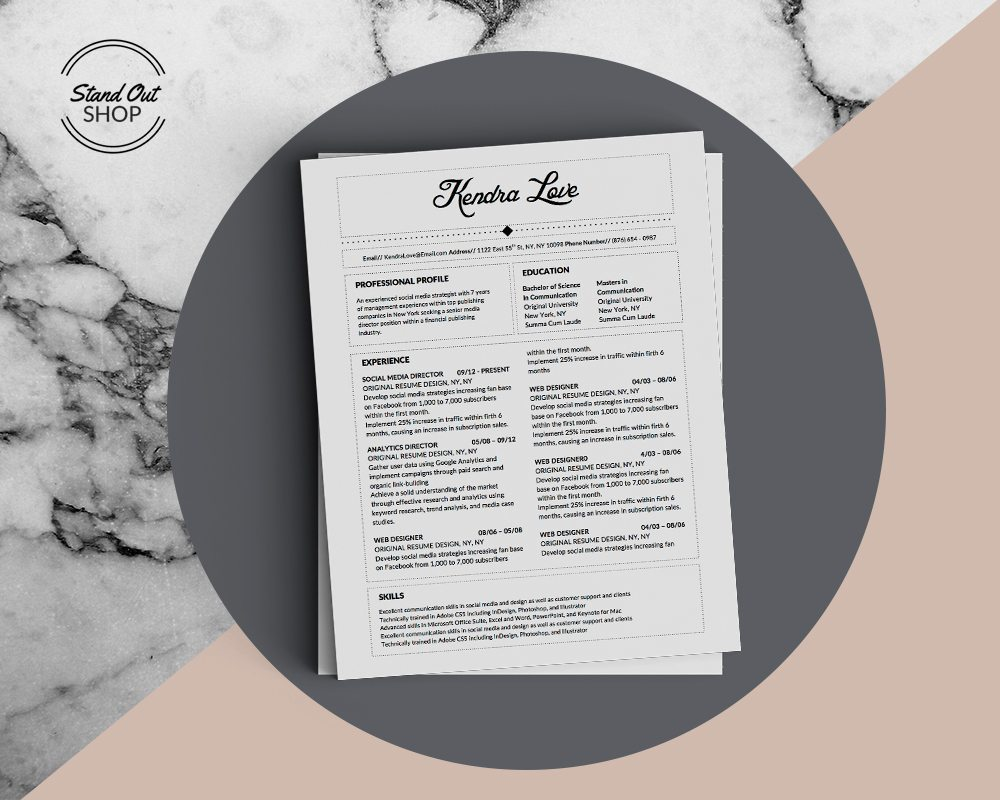 Kendra Love Resume Template  Stand Out Shop
