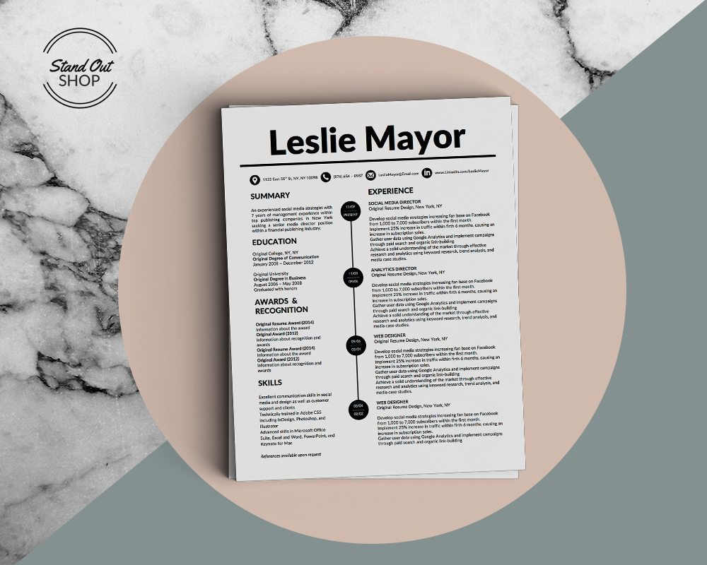 Leslie Mayor Resume Template For Microsoft Word  Stand Out Shop