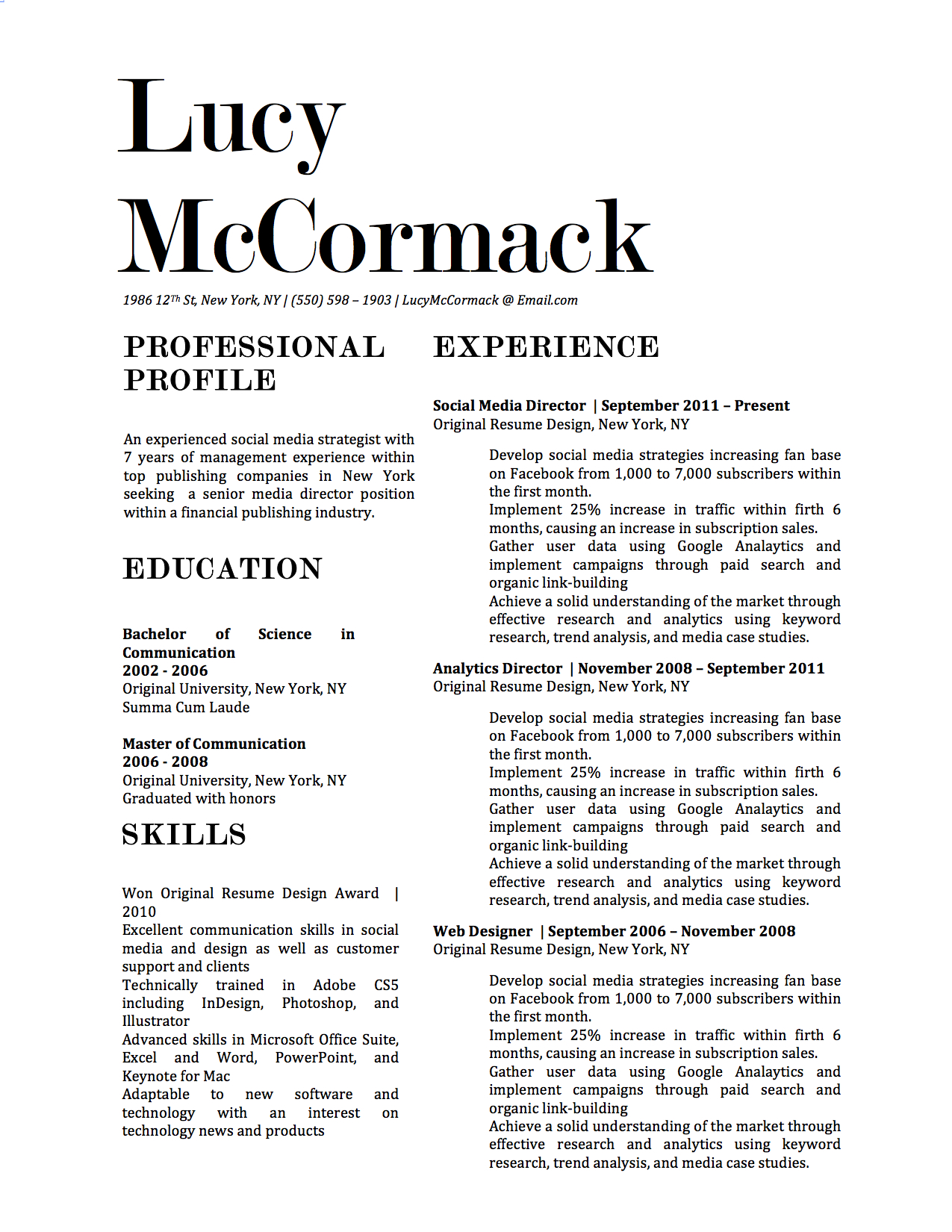 Lucy McCormack Downloadable Resume + Cover Template And Cover Letter  Template For Microsoft Word And Apple  Apple Pages Resume Template
