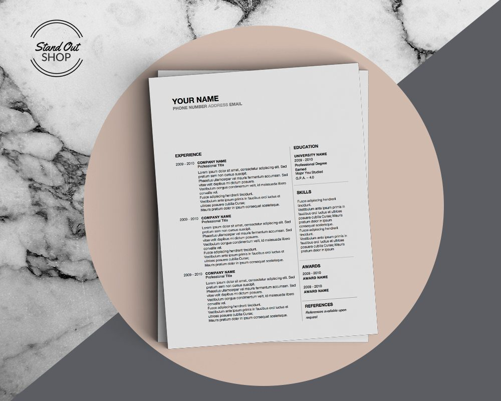 Space in Between-5 FREE MICROSOFT WORD CV RESUME TEMPLATES