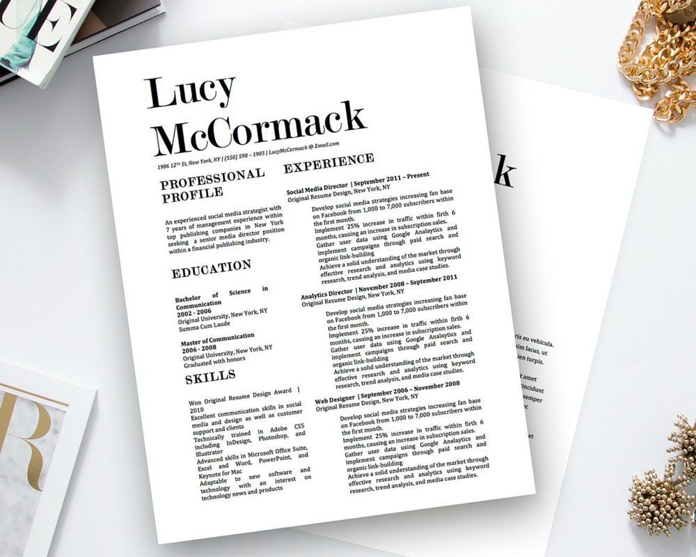 lucy mccormack resume template