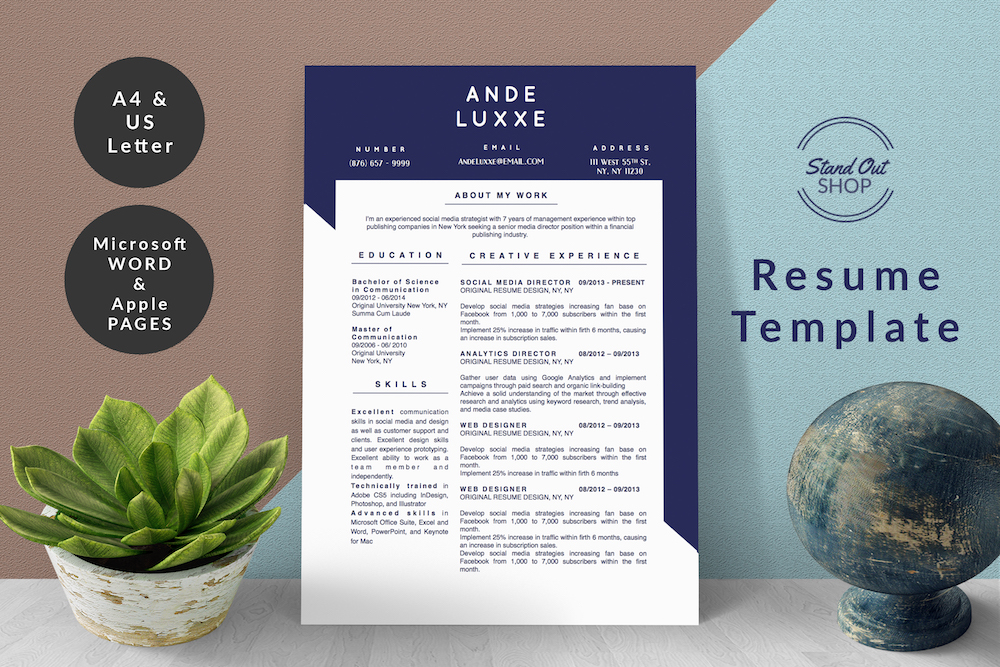 2-PAGE RESUME ANDE LUXXE COVER - 1