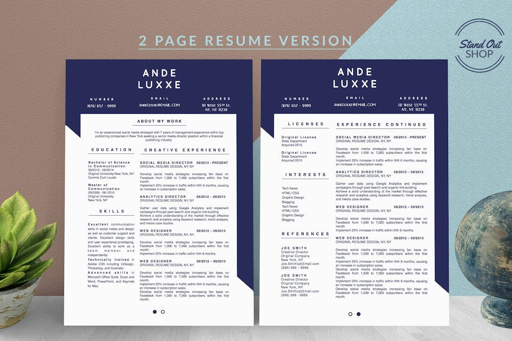 2-PAGE RESUME ANDE LUXXE COVER - 2