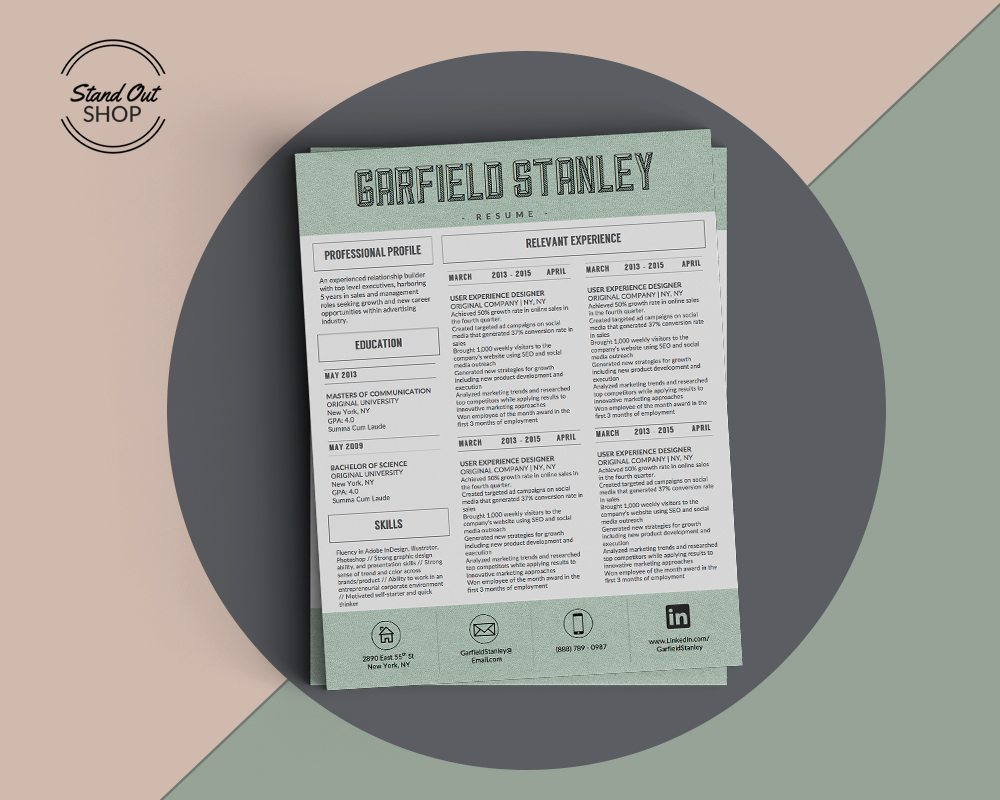Garfield Stanley Resume Template  Stand Out Shop