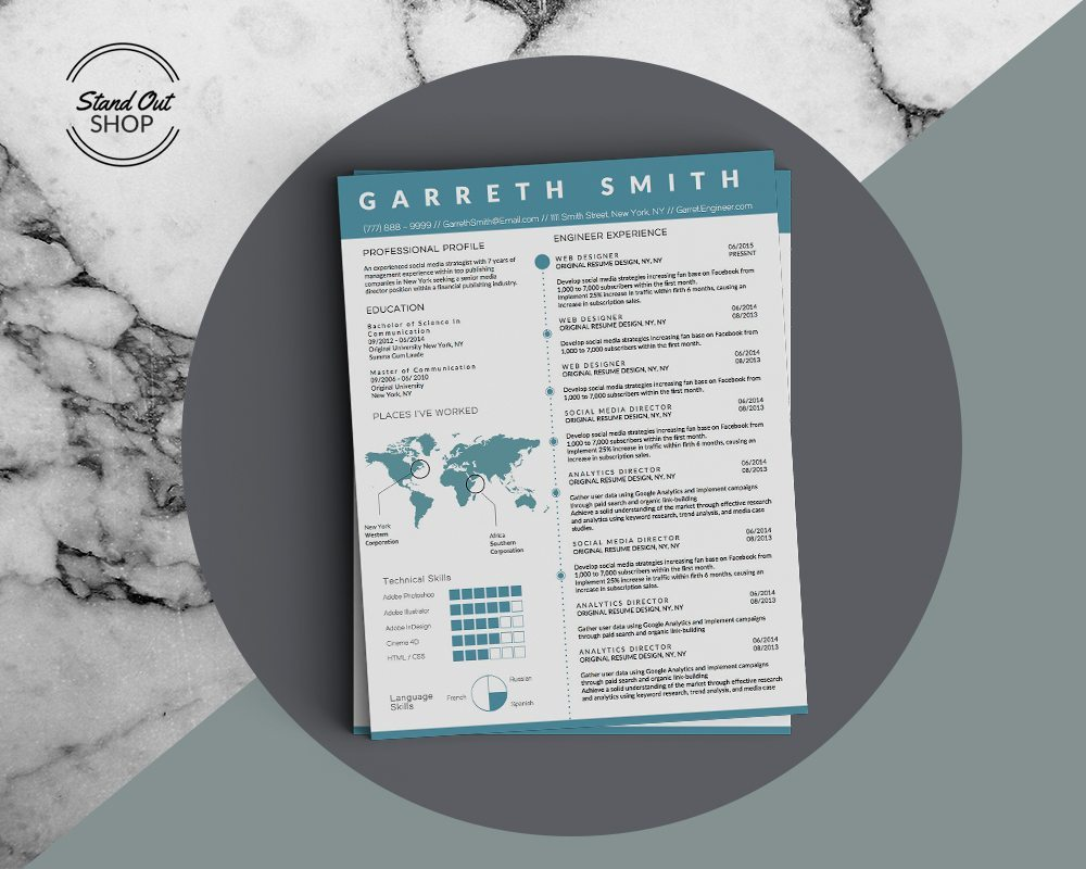 Garreth Smith Engineer Resume Template - Stand Out Shop