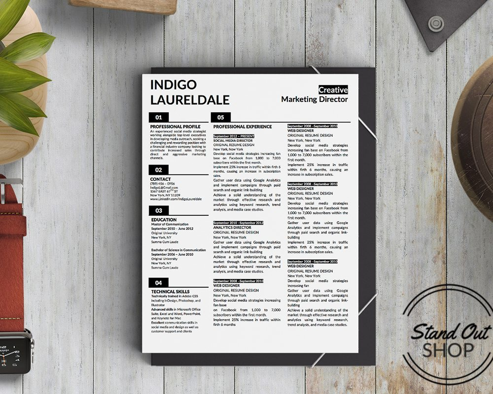 indigo resume template