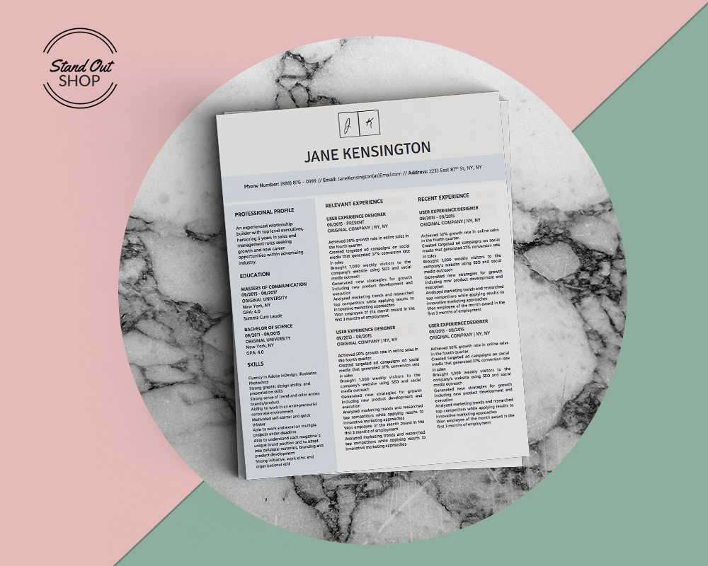 Jane Kensington Resume Template - Stand Out Shop