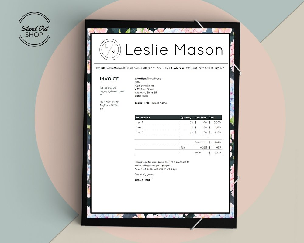 Leslie Mason Invoice Cover Marble 2